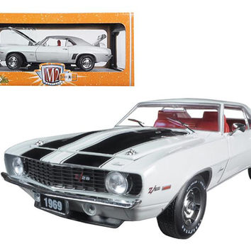 1969 Chevrolet Camaro Z-28 Dover White With Black Stripes 1-24 Diecast Model Car by M2 Machines