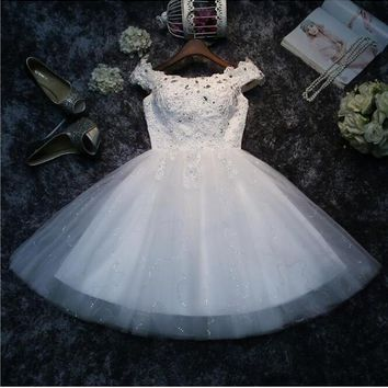 White Patchwork Sequin Rhinestone Grenadine Boat Neck Fluffy Puffy Tulle Mini Dress