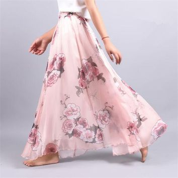 DKF4S 2017 Summer Chiffon Skirt Vintage Bohemia Chiffon Floral Printed Women Boho Floor-Length Long Maxi Beach Party Loose Flare Skirt