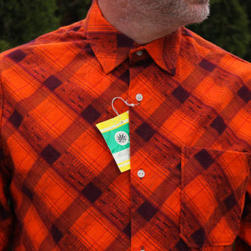 NOS Plaid Flannel Shirt / New Old Stock Soviet Vintage Men's Check Collared Shirt / Soft Ukrainian Long Sleeve Orange Button Up w. Tags: M-L