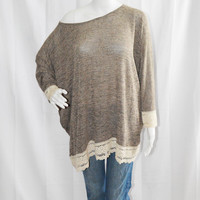 Loose Knit Sweater with Crochet Trim / Off the shoulder Knit Tunic / Batwing Sleeve Cardigan / Boho Cardigan / OOAK