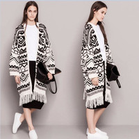 Tassel Floral Printed Women Loose  Sweater Cardigan Coat Jacket Outerwear Warm Sweater Cardigan Coat Jacket Outerwear _ 10396