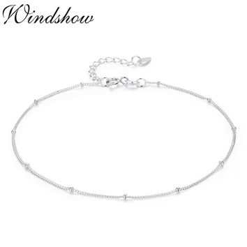 Pure Real 925 Sterling Silver Tiny Thin Beads Curb Chain Bracelet for Women Girls Friend Jewelry pulseras armbanden voor vrouwen