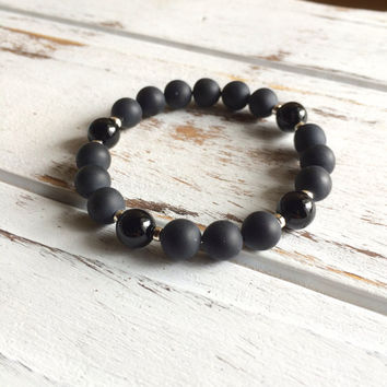 Genuine Frosted Black Onyx Bracelet  w/ Sterling Silver Charm - Confidence, Protection & Grounding