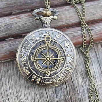 compass pocket watch pendant necklace chain quartz alice in wonderland christmas vintage friends gift Pirates of the Caribbean