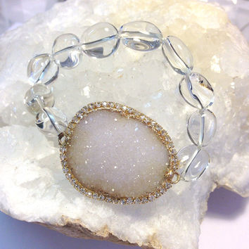 SALE - White Druzy Bracelet Druzy Gemstone Stretch Bracelet Rock Crystal Bracelet Beach Wedding Stack Bracelet, Layering Bracelet