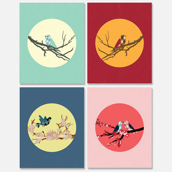 INSTANT DOWNLOAD: Argyle Woodland-inspired Birds, set of four 5x7 home, office or bathroom decor