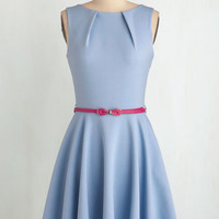ModCloth Pastel Mid-length Sleeveless Fit & Flare Luck Be a Lady Dress in Powder Blue