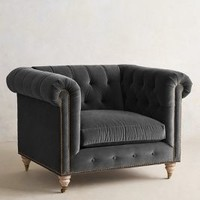Velvet Lyre Chesterfield Armchair, Wilcox by Anthropologie
