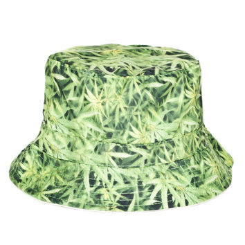 Weed Leaf Collage Adult Unisex Light Green Casual Summer Beach Flat Bucket Hat