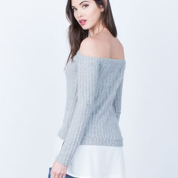 Fuzzy Knit Contrast Top