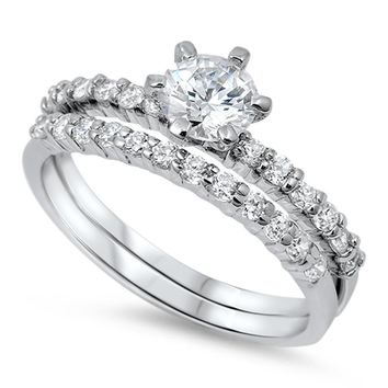 1 CT Round Brilliant Cut CZ Rhodium Plated Sterling Silver Bridal Engagement Wedding Ring Set