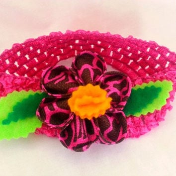 Flower headband - Fabric Kanzashi flower - Flower hair accessory - Hot pink and brown giraffe print - Jungle headband - Jungle birthday girl