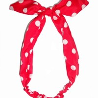 Tied Bow Polka Dot Headwrap Headband Blue