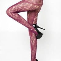 Chevron Cutouts Colorful Fishnet Pantyhose Nylons Tights Reg