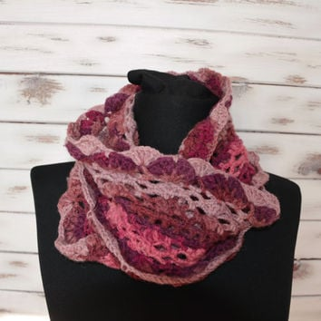 infinity wool scarf, crochet lacy shawl, crochet cowl, winter neckwarmer, womens scarf, purple brown scarf