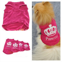 2016 Pet Dog Cat Cute Crown Princess T-Shirt Clothes Vest Summer Coat Puppy Clothing Pet Products For small dog Product For cat