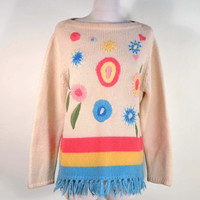 Vintage 60s Embroidered Hippie Sweater/ Mod Flower Power Fringe Pullover Jumper/Boho Preppy Sweater M