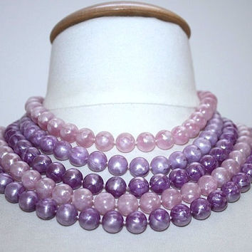Purple Multi Strand Necklace ~ Vintage Purple & Pink Plastic Swirl Bead Bib Choker