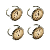 Letter T on Cork Design Napkin Ring Set