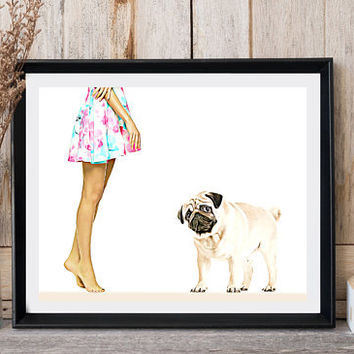 Pug dog print Girl with dog Pug lovers gift Floral dress Pop wall decor Printable dog art Kids and puppies Clip art dog Print at home