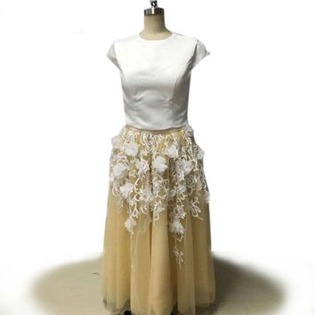 Two Piece Prom Dress Cap Sleeve Satin Top White Applique Tulle Floor Length Prom Dresses