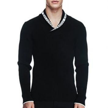 Logo Jacquard Ribbed Shawl Collar Sweater - Sweaters - Mens - Armani Exchange