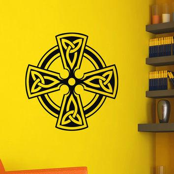 Celtic Cross Wall Decals Vinyl Stickers- Antique Celtic Cross Wall Decal- Irish Wall Cross Decor Living Room Bedroom Dorm Home Decor Z816