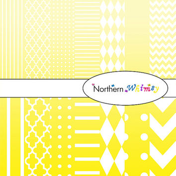 Digital Scrapbooking Paper Set – Ombre Yellow and White in stripes, chevron, polka dot, stripe, harlequin, and quatrefoil  INSTANT DOWNLOAD