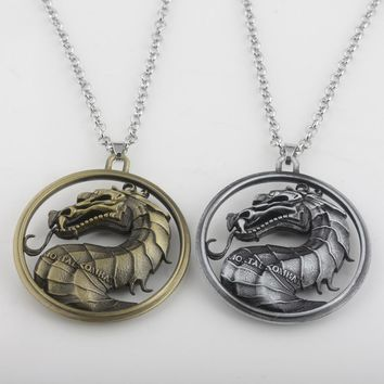 2018 Hot Game of Thrones Series Mortal Kombat Necklace Dragon  Pendant Necklaces Movie Jewelry 2 Colours High Quality Uninsex