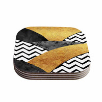 "Zara Martina Mansen ""Chevron Hills"" Gold Black White Coasters (Set of 4)"