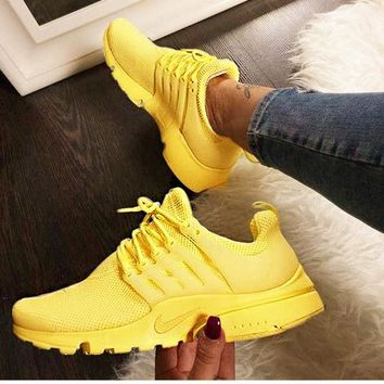"""NIKE""Air Presto Women Men Fashion Running Sport Casual Shoes Sneakers yellow white soles H-AA-SDDSL-KHZHXMKH"
