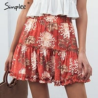Simplee Boho floral print mini skirt Elastic waist tiered ruffle short skirt women A-line casual beach summer skirt 2018 new