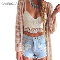 2017 Summer New Sexy Women Crop Top Knitted Crochet Lace Deep V Neck Spaghetti Strap Backless Camisole Bralette Beachwear