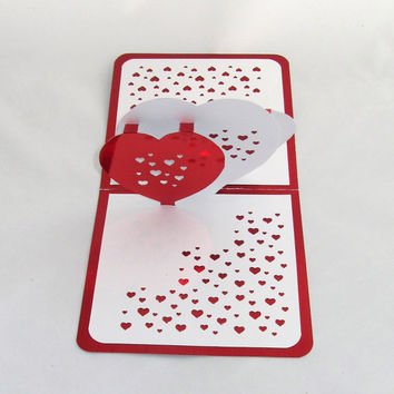 VALENTINe'S 3D Pop Up Card W/3 HEARTS Pierced w/Many Tiny Hearts ORIGINaL DESiGN Handmade Handcut in Metallic Red and White One Of A Kind
