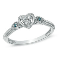 Cherished Promise Collection™ Enhanced Blue and White Diamond Accent Heart Ring in Sterling Silver - Size 6 - View All Rings - Zales