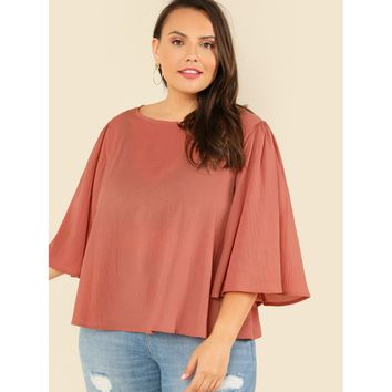 Womens Flared Sleeve Sheer Blouse - Ladies Plus Sizes