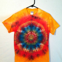 Tie Dye Shirt - Men and Women's 100% Cotton T-Shirt - Intense Blue Lotus - Hippie Festival Wear