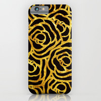 Black Flowers Gold iPhone & iPod Case by lostanaw