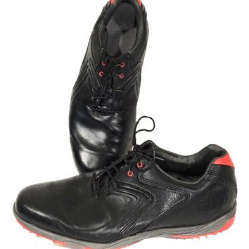 Footjoy 50048 Golf Shoes Black Red HydroLite Soft Tip Cleats Flex Zone Men 8.5 M - Preowned