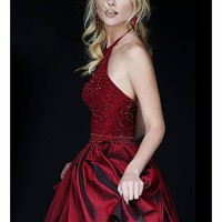 [59.99] Glamorous Taffeta & Tulle Halter Neckline A-line Homecoming Dresses with Beadings & Rhinestones - Dressilyme.com
