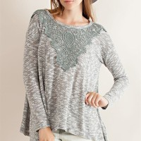 Two Tone Crochet Yoke Top - Grey
