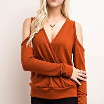 Gabby Cold Shoulder Top - Rust