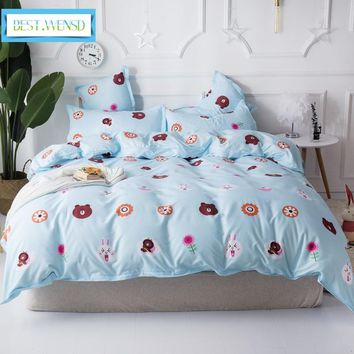BEST.WENSD western style quilt cover comfort bedding collection king bed spreads sets Bear -lovely animal bedsheet bedding set