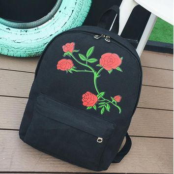 Rose Flower print Casual Canvas Sport Laptop Bag Shoulder School Bag Backpack