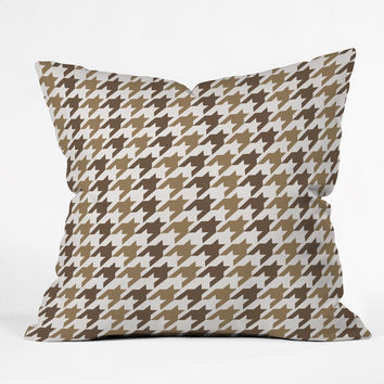 Allyson Johnson Classy Brown Houndstooth Throw Pillow