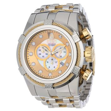 Invicta 12952 Men's Jason Taylor Bolt Zeus Reserve White MOP Dial Steel Bracelet Chronograph Dive Watch