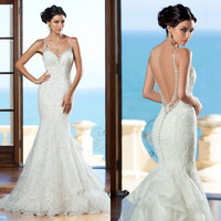 New 2017 Backless Mermaid Sexy Wedding Dress Applique Lace Beaded Wedding Gowns Bride Dresses Vestido De Noiva Sereia R99