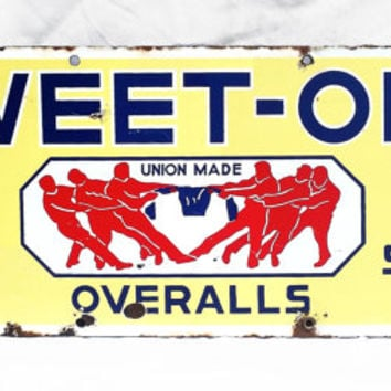 Original Vintage Porcelain Sign, Advertisement for Sweet Orr Overalls, Industrial Porcelain Sign