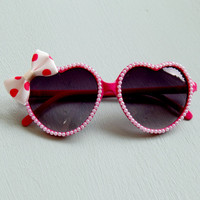 Pinup Pink Heart Sunglasses with Pearls and Polka Dot Bow, Rockabilly, Retro, Vintage Inspired